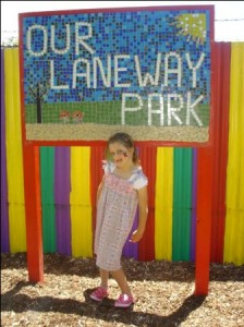 The Laneway Park project sign