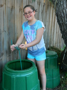Sophia and compost bin