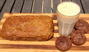 peach and zucchini bread, choc zucchini muffins and peach smoothie