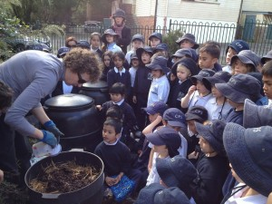 Students taking part in the Nature's Recyclers worm farm workshop